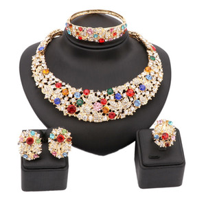 Women Party Bridal Fine Colorful Rhinestone African Beads Jewelry Sets For Wedding Party Dinner Dress Accessories Jewelry Sets