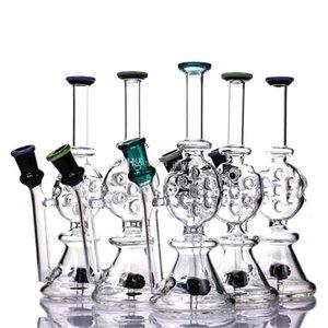 "Mini Beaker Bong Tall 7.9"" Dab Rig Bowl Or Quartz Banger recycle glass water bongs Colorful percolator Glass smoking pipe dab rigs"