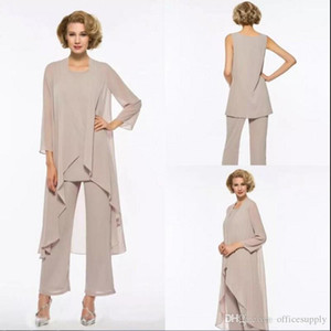 Plus Size Mãe da noiva Pant Suit 3 peça Chiffon de vestido de casamento de praia Vestido Mãe mangas compridas baratos Mães vestido formal