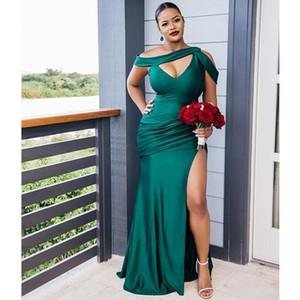 2020 Sexy Nova Dividir Side High Vestidos Alças Manga Prom Vestidos Plus Size Africano Preto Meninas dama de honra dama de honra Wear