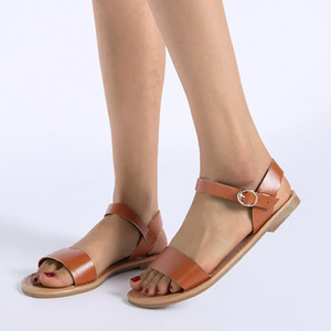 Women's shoes Roma Flat Solid Peep Toe Sandals Lady 2020 buckles Casual Shoes de verano para mujer tacon alto#g30