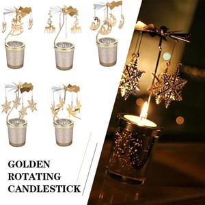 8 * 8 * 16.5CM Candlestick casa decorazione sveglia Candeliere Candelieri Romantico metallo oro appesa Tabella Centrotavola Wedding le decorazioni