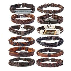 Rétro tissé véritable bracelet en cuir Punk nouvelle multi-couche simple bracelet cuir de vache hommes rétro tissé bracelet en cuir costume bricolage