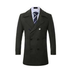 Winter Mens Blends Solid Color Lapel Neck Mens Plus Size Coats Long Sleeve Males Regular Coats