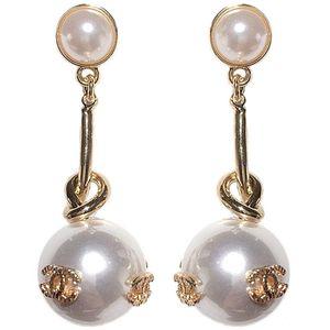 High quality fashion designer jewelry earrings women wedding earrings white pearl big earings flower earring