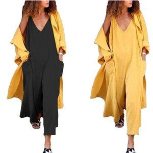 Diseñador de cuello en V profundo de gran tamaño Color sólido pierna ancha mamelucos Hembras casaul de ropa para mujer sin mangas flojo del bolsillo del mono de verano