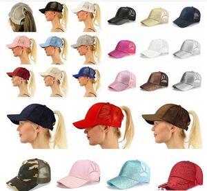 hot sale 29 Colors Glitter Ponytail Ball Cap Messy Buns Trucker Ponycaps Plain Baseball Visor Cap Glitter Ponytail Hats JXW265