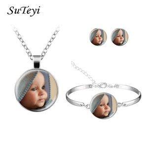 Suteyi personalizadas Conjunto de Jóias personalizado da foto colar brincos pulseira Crianças Avós Pais Família Pai-filho Jóias