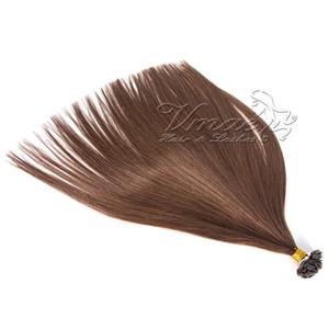 VMAE Pre скрепленных кератина Pure Color 613 Black Brown Fusion 1g прядь Бразильские двойная тяга Straight Virgin Flat Tip человеческих волосы