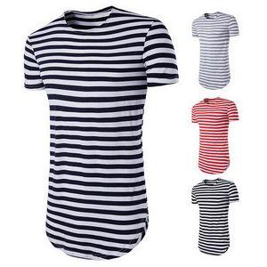 Yepyeni Çizgili Tişörtlü Erkekler Kısa Kollu O-Boyun Tees Yaz Temel Klasik Uzun Tişört Erkek Streetwear Giyim Tops