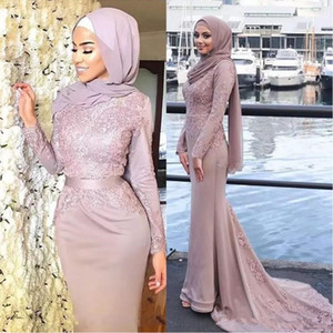 Rosa polvoriento musulmanes sirena vestidos de noche Hijab de manga larga con cuello redondo Apliques cinta Sash vestidos de baile de satén barrer tren vestidos formales
