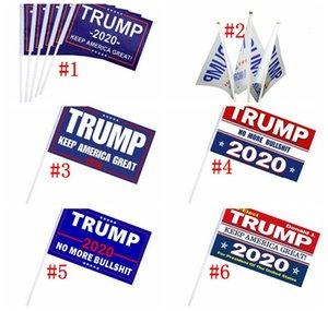 500 pcs Trump Mão Signal Flag 14X21 CM Donald 2020 Bandeiras Carta Imprimir Manter América Grande Bandeira À Prova D 'Água Papel Mão Acenando Bandeiras H0522