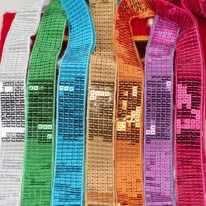5Yards / lote 5-Linhas DIY quadrado brilhante lantejoulas fita de renda para dançar Figurino Vestuário Decoração Hat Embellishments