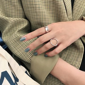 Jf218 coreana S925 anillo de plata Sterling ins pequeño simple anillo hueco de plata abertura hembra geométrico