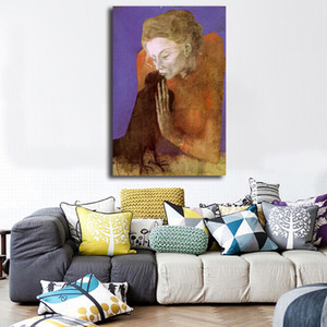 Pablo Picasso Mujer con un cuervo 1904 HD Impresión en lienzo de pintura Dormitorio Decoración para el hogar Moderno Arte de la pared Pintura al óleo Poster Marco