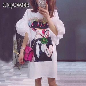 CHICEVER 2019 Summer Women T shirts Tops Transparent Mesh Flare Sleeve Sequins Letter Diamonds Female T shirt Clothes Fashion