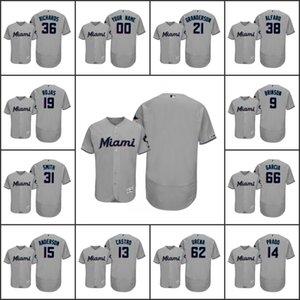 MiamiMarlins Men # 14 Martín Prado 21 Curtis Granderson 13 Starlin Castro Mujeres JóvenesMLB 150 Aniversario Flex Base Jersey personalizada