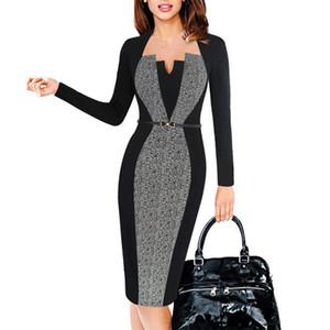 Jupe femme d'automne couture col carré mode tempérament robe crayon à manches longues
