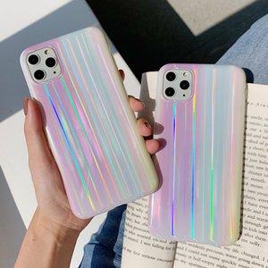 Colorida de la caja del teléfono para el iphone brillante láser 11 11Pro Max XR X XS Max 7 8 más las cajas para el iphone SE 2020 Gradiente contraportada