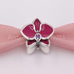 Authentique 925 perles en argent sterling orchidée, émail d'orchidée radiante émail violet CZ Charms Convient aux bracelets de bijoux de style Pandora européen Collier