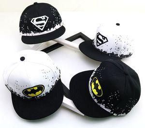 Sıcak çocuk hip hop şapka Siyah ve beyaz mürekkep püskürtmeli yarasa Superman beyzbol şapkası beysbol kasketi erkek HFA937