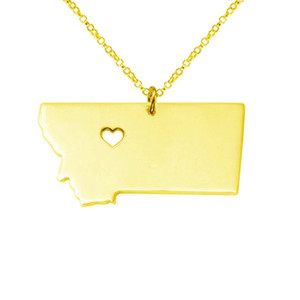 Silver Tone Stainless Steel Map Pendant Necklace We Love Montana MT charm necklace