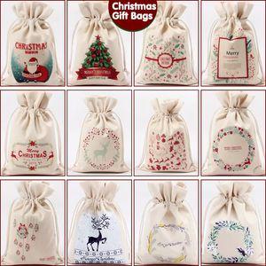 Weihnachtstasche Kordelzug Geschenk-Beutel Leinentaschen Große Süßigkeit-Speicher-Beutel Rentiere Drucken Organizer-Taschen Santa Sack-Beutel für Kid VT0732