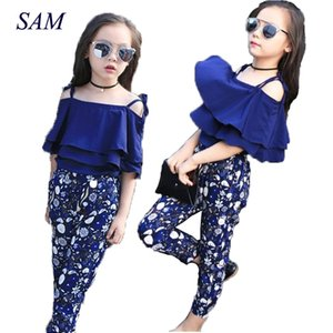 Girls Set Clothes Kids Fashion Top Pant Two Piece Children Summer Suit Girls Boutique Outfits 7 8 9 10 11 12 13 14 Years Y200525