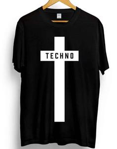 Футболка Techno с крестом с принтом Мужская унисекс музыкальный фестиваль Мода Детройт 100% хлопок Летняя футболка с принтом O-образным вырезом Заказать Футболка
