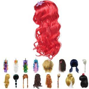 Девушки Русалочка красный парик Дети принцесса Эльза Anna Aurora Косплей Рапунцель Braid жасмин Моана Unicorn волос для партии