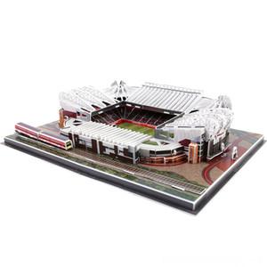 DIY de Puzzle Os Red Devils Old Trafford Arquitetura Estádios de futebol tijolo Brinquedos maquetes conjuntos de papel Edifício clássico Puzzles Puzzles