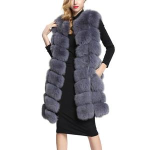 Uzun Yapay Sahte Kürk yelek kadın Kış Moda Sahte Kürk Yelek Kadın Sıcak Sahte Coats Kadın Casaco Feminino