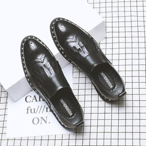 Korean style men's fashion party nightclub dresses genuine leather shoes black brogue loafers slip-on lazy shoe bullock sneakers