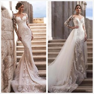 Elegant Sheer Long Sleeves Lace Wedding Dress 2020 With Detachable Skirt Tulle Wedding Bridal Gowns Robe de mariee BC3596