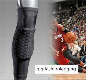 Sports Pro Protective Gear Honeycomb Defense Bump Lengthened Knee Pads Protection Calf Basketball Leggings Nylon 1099