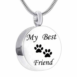 'My Best Friend' Pet Paw print Impermeable Cremation Urn Necklace Acero inoxidable Ash Memorial Keepsake Jewelry