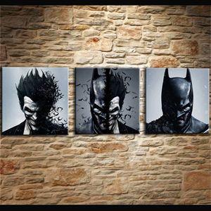 Boyama Oturma Odası Duvar Cuadros Dekorasyon Sanat 3 Adet / Adet Joker Batman Poster Tuval Çerçevesiz Baskı HD Modüler Baskılı Resim