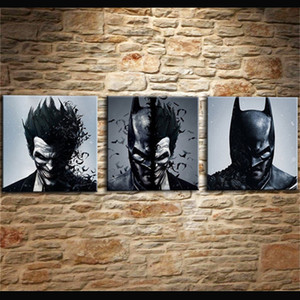 Pittura Living Room Wall Cuadros Decorazione Art 3 pezzi / pezzi Joker Batman Poster Canvas Frameless stampa HD modellata immagine stampata