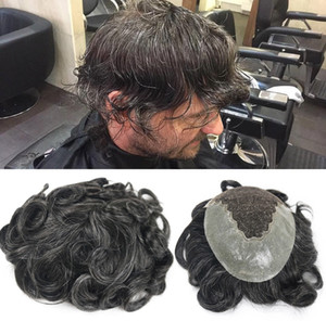 Free Shipping Black White Color Toupee for Old Men Full Swiss Lace Hair Pieces Brazilian Virgin Human Hair Replacement