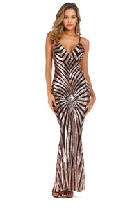 Sparkling Sexy V-neck Criss Cross Back Sheath Striped Sequin Floor Length Long Maxi Evening Party Dresses for Women