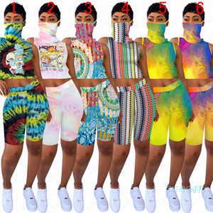 Women 2pcs Sleeveless Printed Sunproof Shorts D5805 Scarf Crop Top Absorbent Outfit + Face Summer Set Designer Vest Cartoon Sports Suit Jwwe