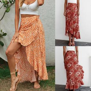 Mujer elegante maxi largo Faldas 2020 falda irregular Nueva Sexy Ladies impreso floral de las colmenas de la vendimia alta de Split maxi largo Faldas