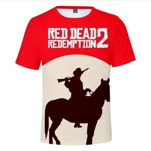 남성 여성 여름 티셔츠 RED DEAD 상환 (2)는 3D는 T 셔츠 청소년 캐주얼 힙합 티셔츠 인쇄하기