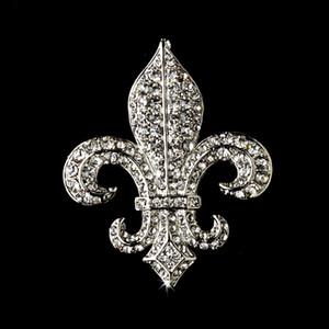 "2"" Silver Vintage Limpar Rhinestone flor de lis Broche S"