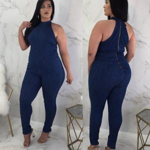 Casual mulheres BODYCON Macacão Denim Jeans Rompers Macacões Calças Calças compridas