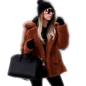 Casual Teddy Coat Winter Fleece Plus Size Warm Thick Faux Fur Jacket Coat Women Pockets Plush Overcoat Outwear