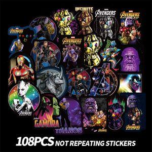108pcs / lot caja de la carretilla Marvel Avengers Graffiti Etiqueta superhéroe monopatín etiqueta engomada del ordenador de dibujos animados accesorios de ordenador