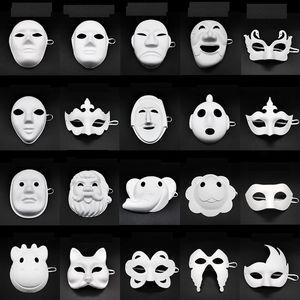Carta fai da te mascherina del partito pittura bianca di Halloween Chirstmas del partito della mascherina bambini fai da te creativo maschere Kindergarten Pittura Mask