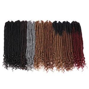 20 pouces Déesse Faux Locs Crochet Extension de cheveux synthétiques Crochet Tresses cheveux Dreadlocks main droite avec des extrémités bouclés