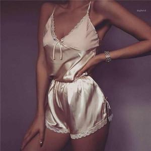 Women Sexy Lingerie Set Lace Crop Top Shorts Pajamas Set Sleepwear Satin Pijama Nightwear Pyjama Femme Night Suit